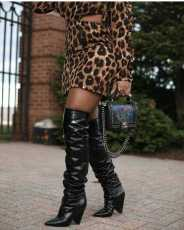 Sexy Leopard Print Backless Long Sleeve Mini Dress CYAO-8518
