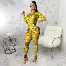 Sexy Striped Long Sleeve Bodycon Jumpsuits SMR-9464