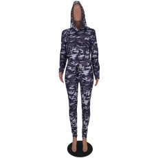 Camouflage Print Hooded Zipper Two Piece Suits CYAO-8521