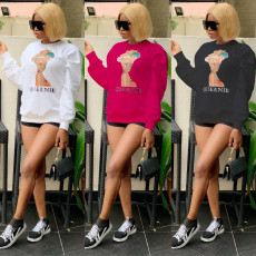 Casual Pritned Long Sleeve O Neck Sweatshirts CH-8078
