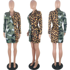 Leopard Camo Print Patchwork Double-breasted Blazer KSN-5082