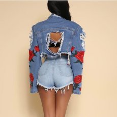 Casual Ripped Holes Embroidery Denim Jacket Coats LA-3150