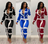 Casual Stripes Blouse Top And Pants 2 Piece Suits MX-98018-1
