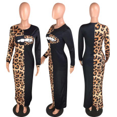 Leopard Print Patchwork Long Sleeve Maxi Dresses WZ-8236