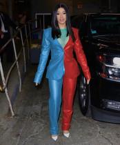 Contrast Color Blazer Long Pants 2 Piece Suits MEM-8241