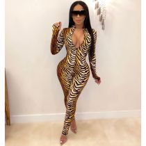 Tiger Stripe Long Sleeve Zipper Jumpsuits WZ-8240
