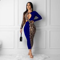 Plus Size Leopard Print Patchwork Cut Out Slim Maxi Dresses YNB-7043