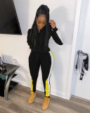 Plus Size Casual Hooded Zipper Two Piece Sets BLX-7340-1
