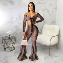 Snake Skin Print Crop Top And Pants 2 Piece Sets SMR-9461