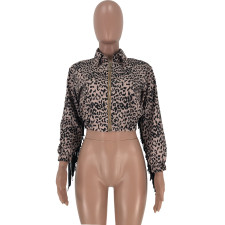 Leopard Print Tassel Zipper Short Jacket Coat CQ-5291