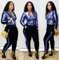 Plus Size Sequined Long Sleeve Two Piece Pants Set QY-5148