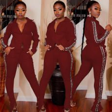 Casual Zipper Long Sleeve Two Piece Pant Sets AL-145