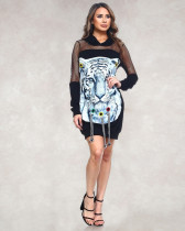 Trendy Printed Patchwork Hooded Mini Dresses LX-6058