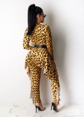 Leopard Print Ruffles One Piece Jumpsuits Without Belt CM-636
