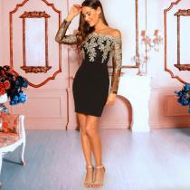 Sexy Lace Patchwork Slash Neck Mini Dresses LX-8922