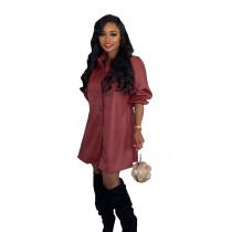 PU Leather Turndown Collar Long Sleeve Shirt Dress BN-9215