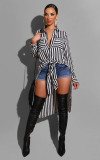 Plus Size Black White Stripe High Low Irregular Shirt PIN-8465