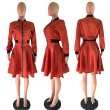 Trendy Zipper Jacket And Skirt Two Piece Sets OY-6075