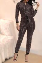Trendy Shiny Zipper Long Sleeve One Piece Jumpsuits MA-176