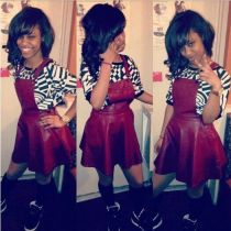 Trendy PU Leather Wine Red Strap Mini Dresses LX-8923