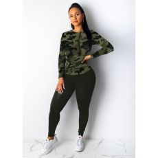 Leopard Camo Print Hoodies Casual Two Piece Sets IV-8062