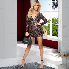 Sexy Sequin Deep V Neck Backless Mini Dresses LX-8925