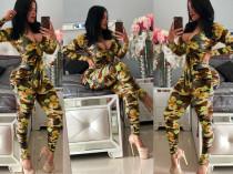 Flower Camo Print Long Sleeve Bodycon Jumpsuits MEI-9061