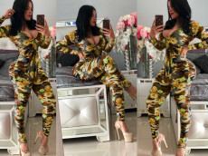 Flower Camo Print Long Sleeve Bodycon Jumpsuits MEI-9061