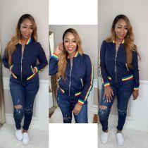 Rainbow Stripe Patchwork Zipper Baseball Jacket MA-283