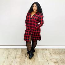 Plaid Print Long Sleeve Casual Shirt Dresses AWN-5061