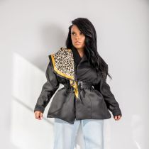 Trendy Irregular Belted Short Jacket Coat YH-5118