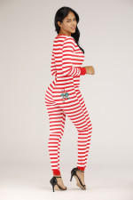 Plus Size Stripe Buttons One Piece Jumpsuits YM-9180
