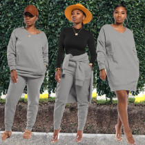 Solid Sweatshirt Long Pants Casual Two Piece Sets AWN-5072