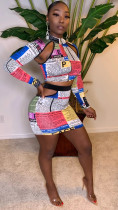 Sexy Newspaper Print Hollow Two Piece Skirt Sets YM-9182