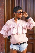 Casual Ruffles Zipper Short Jacket Coats FSL-062