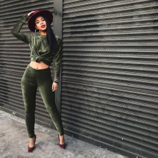 Solid Velvet Long Sleeve Two Piece Pants Sets MOF-5126