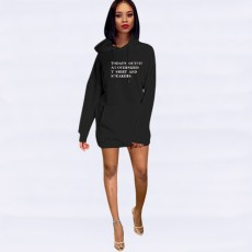 Letter Print Hooded Casual Mini Sweatshirt Dress YMT-6120