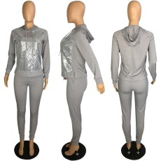 Casual Sequins Patchwork Hooded Two Piece Sets PIN-8471