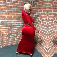Sexy Holes Velvet Long Sleeve Maxi Dresses TE-3884