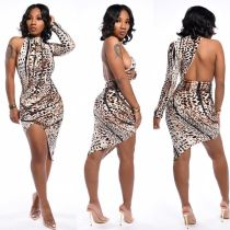 Sexy Leopard Irregular One Shoulder Club Dress LP-6185