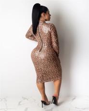 Sexy Leopard Sequins Long Sleeve Slim Midi Dress LA-3163