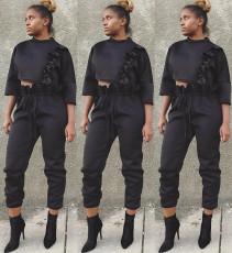 Trendy Ruffles Crop Tops And Pants 2 Piece Sets HGL-1225