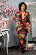 Sexy Slash Neck Long Sleeve Printed Maxi Dress TEN-3395