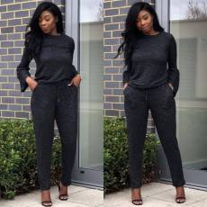 Solid Flare Sleeve Top And Pants Two Piece Outfits BLX-5212