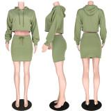Casual Hooded Long Sleeve Mini Skirt 2 Piece Sets ASL-6221