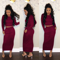 Plus Size Solid Long Sleeve Maxi Skirt Two Pieces Suit HGL-1258