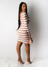 Sexy Stripe Knitted Long Sleeves Mini Dresses BS-1153