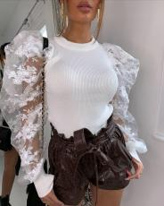Sexy Mesh Patchwork Puff Sleeve Pullover Tops FNN-8339