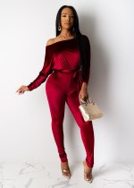 Sexy Velvet Batwing Sleeves Sashes Jumpsuits CH-8089