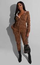 Leopard Print Hooded Zipper Two Piece Sets BS-1154